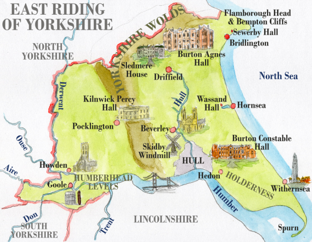 Carte de l'East RidingEN