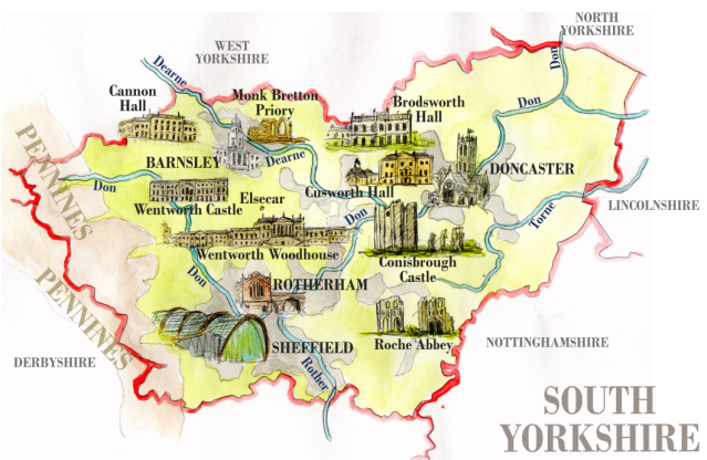 Carte du South Yorkshire