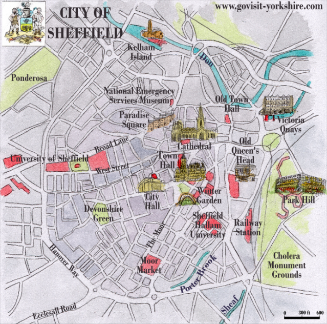 Map of Sheffield Centre